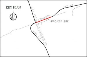 Map outlines the project site of the reconstruction of highway 62