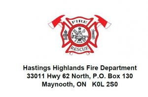 Image of the Fire Rescue Logo with Municipal Address 33011 Hwy 62 North, P.O. Box 130 Maynooth, ON K0L 2S0