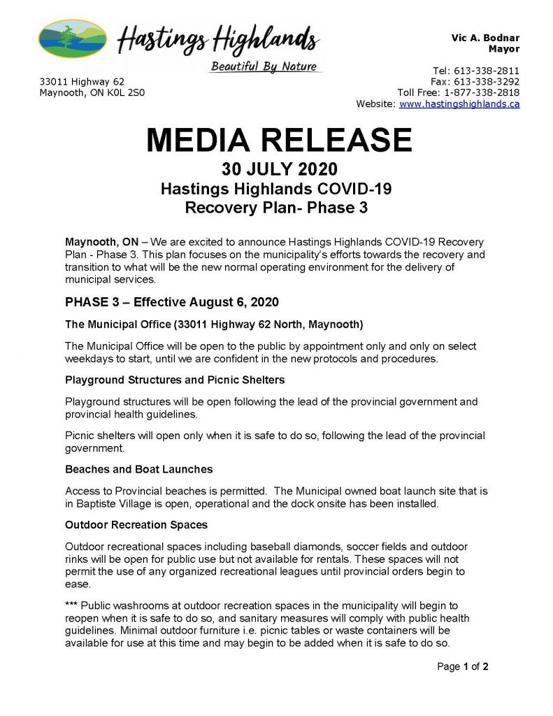 Hastings Highlands Media Release July 30, 2020. COVID-19 Recovery Plan. Select image for a pdf. of the report.